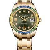 Regenbogen-Saphire im Gelbgold-Chronometer von Rolex, ca. 66.850 Euro