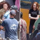 """Scarlett Johannson kämpft sich für """"Captain America: Civil War"""" durch die Straßen von Atlanta. Die brenzligen Szenen übernimmt eine Stuntfrau."""