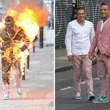 """Für Robbie Williams' Stunt Double wird es heiß beim Videodreh zu dessen Single """"Candy"""" im Londoner Osten."""