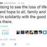 """Der """"Avengers""""-Star Mark Ruffalo drückt via Twitter seine Verbundenheit zu der """"guten Sorte von Menschen"""" in Paris aus."""