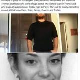 """Mit Fotos und einigen Worten gedenken die vier Bandmitglieder Brad, James, Connor und Tristan ihren """"The Vamp""""-Teammitgliedern Thomas und Marie auf Facebook und sprechen den Familien der Opfern ihr tiefstes Beileid aus."""