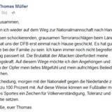 Wie bereits sein Team-Kollege Bastian Schweinsteiger nutzt auch WM-Held Thomas Müller sein Social-Media-Profil, um sein aufrichtiges Beileid in einem Statement auszusprechen.