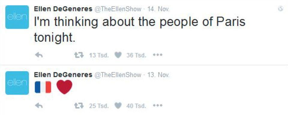 Ellen DeGeneres kennt man besonders für ihre Sprüche. Zu den Anschlägen in Paris fehlen ihr zunächst jedoch die Worte. Mit der französischen Flagge sowie einem Herz-Emoji zeigt sie in einem ersten Post ihr Mitgefühl auf Twitter.