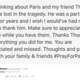"""Von seinem Freund Thomas nimmt Justin Bieber mit einer emotionalen Dankesrede via Twitter Abschied. """"Du wirst geschätzt und vermisst"""", schreibt er an das Bieber-Team-Mitglied, das in Paris sein Leben ließ."""