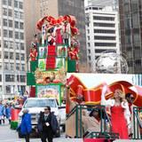 """Bei der alljährlichen """"Macy's Thanksgiving Day Parade"""" legt Mariah Carey mal wieder einen ganz großen Auftritt hin. Im Santa-Style lässt sie sich auf einem Geschenkeberg durch New York fahren."""