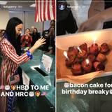 Zum Geburtstag zur Wahl gehen und Baconkuchen essen: Katy Perry feiert eben auf ihre Weise.