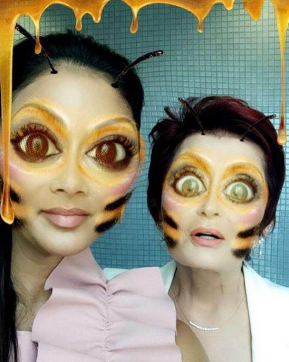 """So würden """"The X Factor""""-Jurorinnen Sharon Osbourne und Nicole Scherzinger als Bienen aussehen. Das spaßige Foto scheint die Twitter-Fans zu gruseln."""