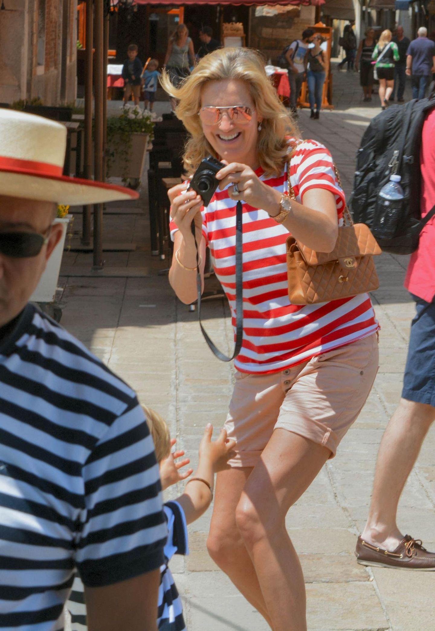30. Mai 2016: Penny Lancaster und Rod Stewart verbringen einige Urlaubstage mit ihrem Sohn Aiden in Venedig.
