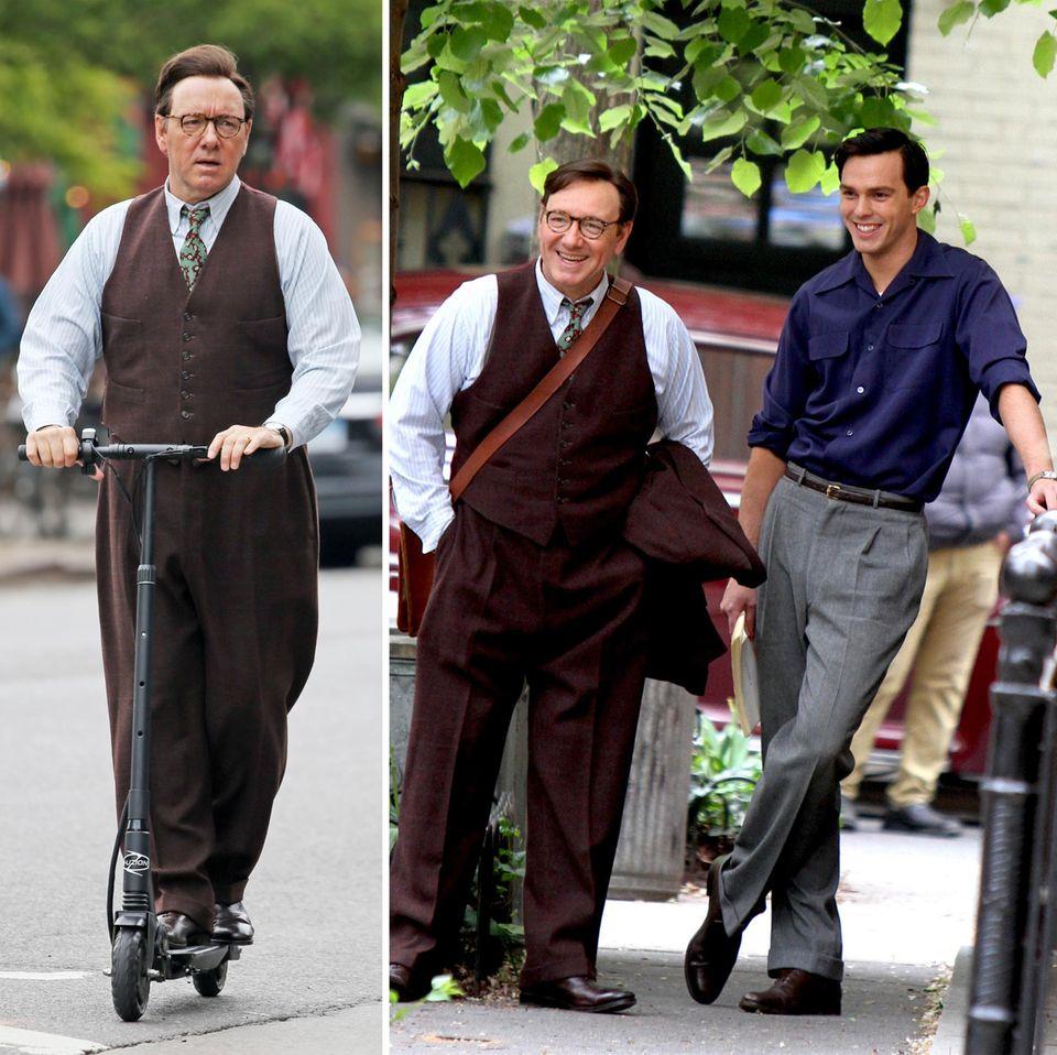 """5. Mai 2016: Ob der Roller von Kevin Spacey wichtig für eine Szene ist? Kevin Spacey und Nicholas Hoult stehen gerade für den Film """"Rebel In The Rye"""" gemeinsam vor der Kamera und haben auch in der Drehpause Spaß."""