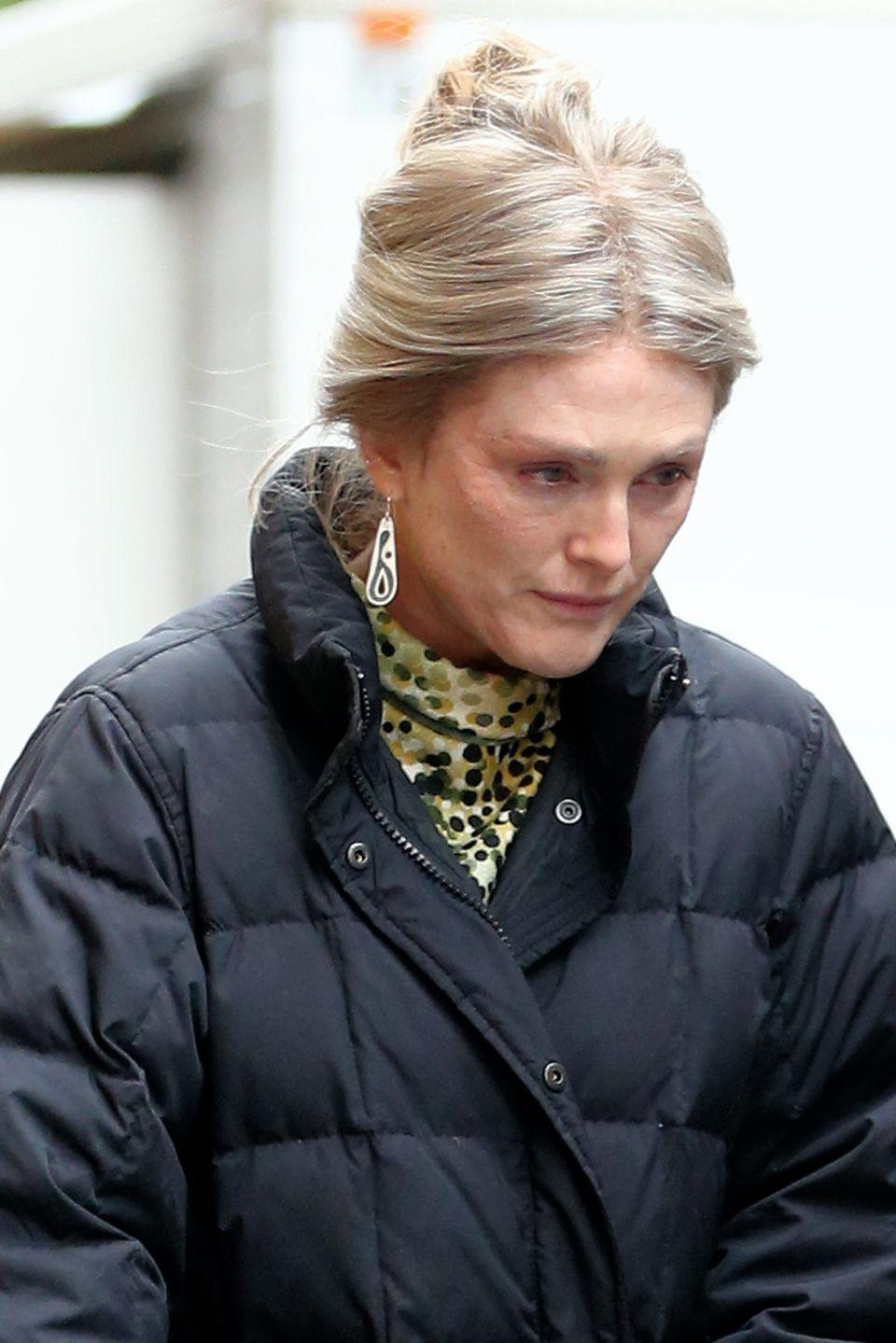 """28. April 2016: Erster Blick auf Julianne Moore: Mit blonder Perrücke wird sie am Set von """"Wonderstruck"""" in New York gesehen."""