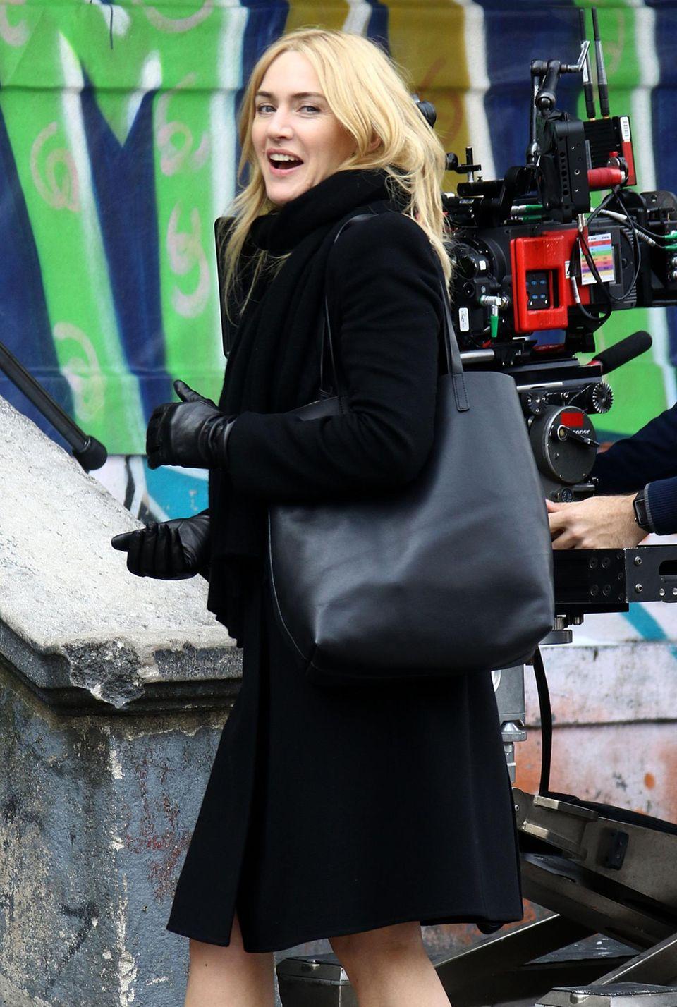 16. März 2016: Die Schauspielerin Kate Winslet dreht in Manhattan Szenen für das Indie-Drama Collateral Beauty, das 2017 in die Kinos kommt.