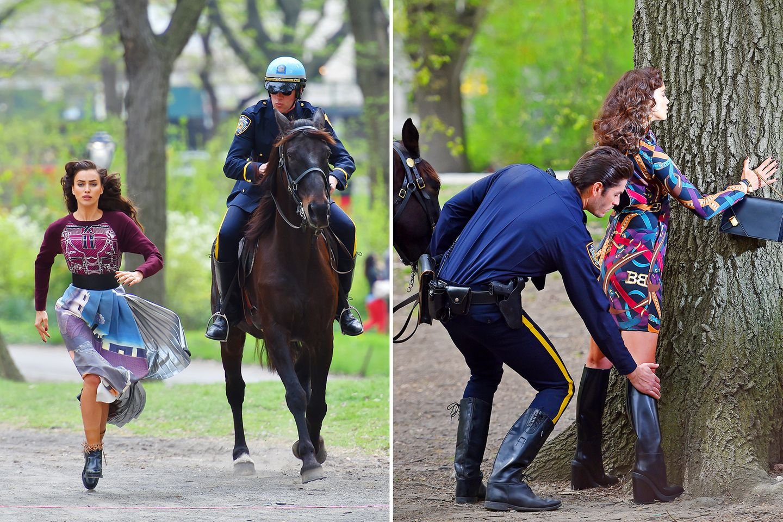 """25. April 2016: Was auf den ersten Blick merkwürdig aussieht, entpuppt sich als ein Fotoshooting für die """"Vogue"""" mit Irina Shayk. Das Supermodel muss durch den New Yorker Central Park rennen und sich durchsuchen lassen."""
