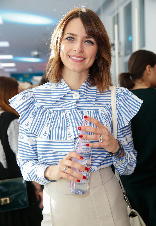 Eva Padbergs gestreifte Eyecatcher-Bluse ließ das schöne Topmodel strahlen.