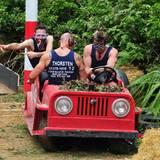 Die Drei müssen gemeinsam in einem Dschungel-Cabrio-Buggy einen Parcours durchfahren.
