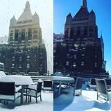 """Salma Hayek zeigt ihren Balkon in New York: """"Während des Sturms am Samstag und am Sonntag, als die Sonne rauskam."""""""