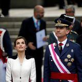 """28. Mai 2016: Königin Letizia und König Felipe kommen zur Militärparade an Spaniesn """"Armed Forces Day"""" in Madrid."""