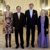 19. April 2016: Königin Máxima und König Willem-Alexander empfangen UN-Generalsekretär Ban Ki-moon und seine Frau Yoo Soon-taek im Palast Noordeinde in Den Haag.
