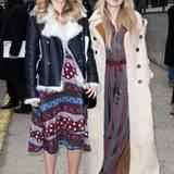 Cooler geht's kaum: Die Topmodel-Schwester Suki und Immy Waterhouse machen sich im modernen Hippie-Look auf den Weg zur Hilfiger-Show.