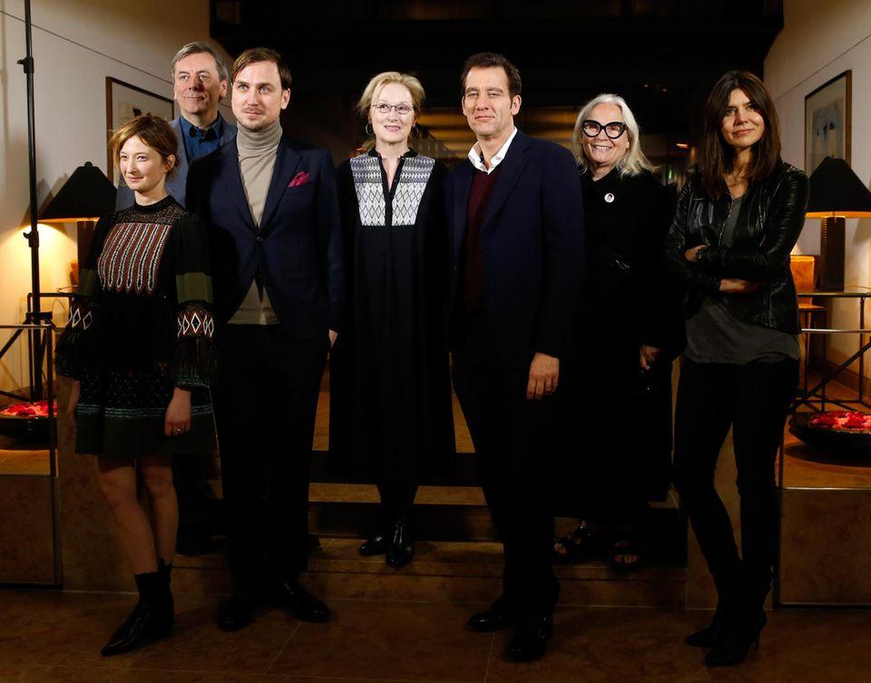 Die Jury der 66. Berlinale sind Alba Rohrwacher, Nick James, Lars Eidinger, Jurypräsidentin Meryl Streep, Clive Owen, Brigitte Lacombe und Malgorzata Szumowska.