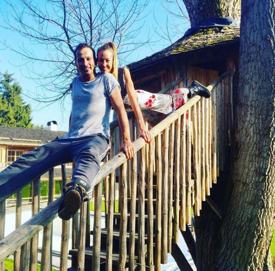 Bei firscher Luft und Sonnenschein in den Bergen trainiert es sich für Alessandra Meyer-Wölden und ihrem Tanzpartner Sergiu Luca viel besser.