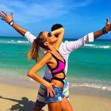Tanztraining vor der traumhaften Strand-Kulisse Floridas: Alessandra Meyer Wölden verbindet Arbeit mit Vergnügen und trainiert mit ihrem TV-Tanzpartner Sergiu Luca in ihrer sonnigen Wahlheimat.