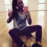 Eine kleine Selfiepause für ihre Fans gönnt sich Sarah Lombardi beim Training zwischendurch.