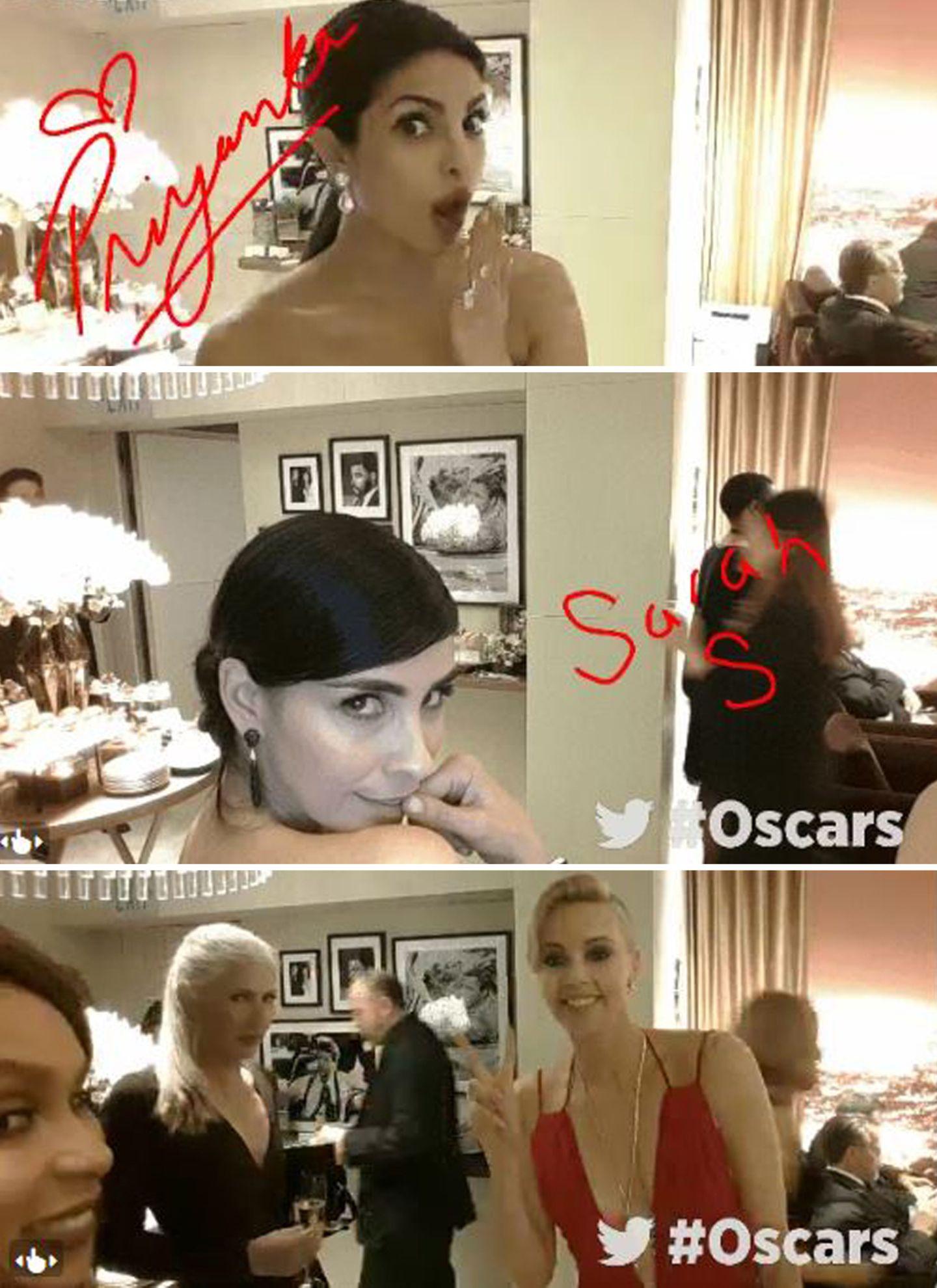 """Stars wie Priyanka Chopra, Sarah Silverman und Charlize Theron flirten mit der """"Academy""""-Kamera."""