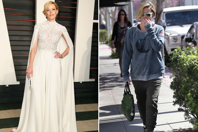 """Hier müssen wir schon zweimal hingucken, um Schauspielerin Elizabeth Banks zu erkennen. Noch am Vorabend hat sie uns mit ihrem """"Ralph and Russo""""-Dress umgehauen. Am Tag danach setzt sie lieber auf Schlabberkleidung und vesteckt sich hinter einer Sonnenbrille."""