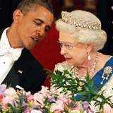 """Die """"Grand Duchess Vladimir""""-Tiara kann mit Perlen oder Smaragden getragen werden. Queen Elizabeth trägt sie gerne bei großen Staatsbanketten, wie hier für Präsident Obama."""