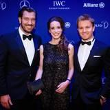 Henrik Ekdahl (Managing Director IWC), Franziska Gsell (CMO IWC Schaffhausen) und Nico Rosberg, der mit Lewis Hamilton zum zweiten Mal in Folge für den Laures-Team-Award nominiert ist.