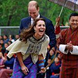 Tag 5  Und Action! Herzogin Catherine macht das Bogenschießen sichtlich Spaß.