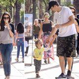 """Juni 2016  Ashton Kutcher und Mila Kunis machen mit Wyatt Halt bei """"Salt & Straw"""" in Sherman Oaks, um sich bei einem Eis zu erfrischen. Ihre kleine """"Prinzessin"""" wird dabei liebevoll von Papa Ashton gefüttert."""