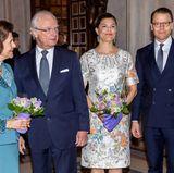 """29. April 2016  Im Rahmen der Feierlichkieten zum 70. Geburtstag von Schwedens König Carl Gustaf besuchen Königin Silvia, König Carl Gustaf, Prinzessin Victoria und Prinz Daniel die """"Königliche Oper"""" in Stockholm."""
