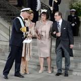 Die Großeltern unter sich: Schwedens Königspaar mit Olle und Ewa Westling.