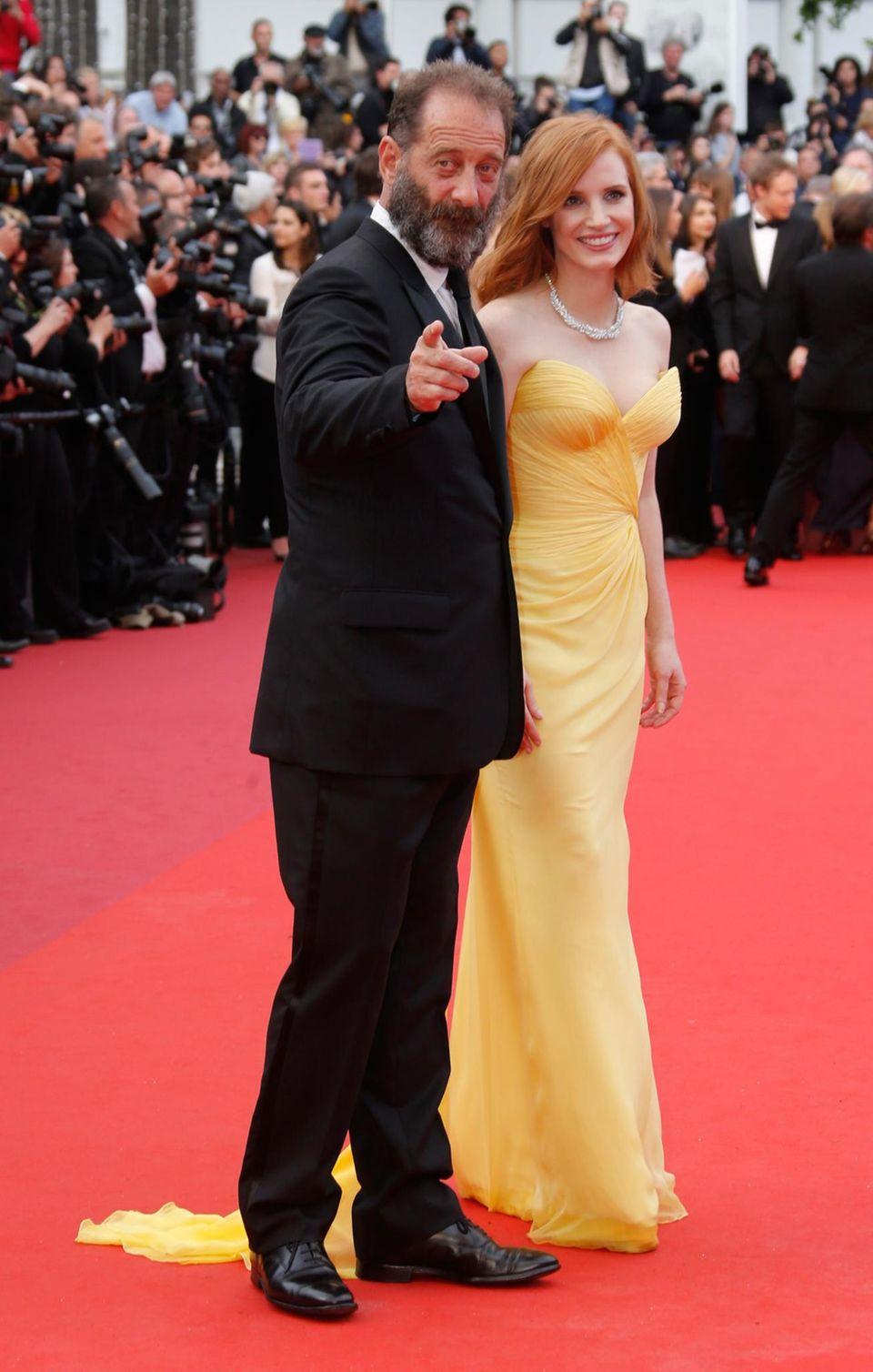Vincent Lindon und Jessica Chastain auf dem roten Teppich in Cannes.