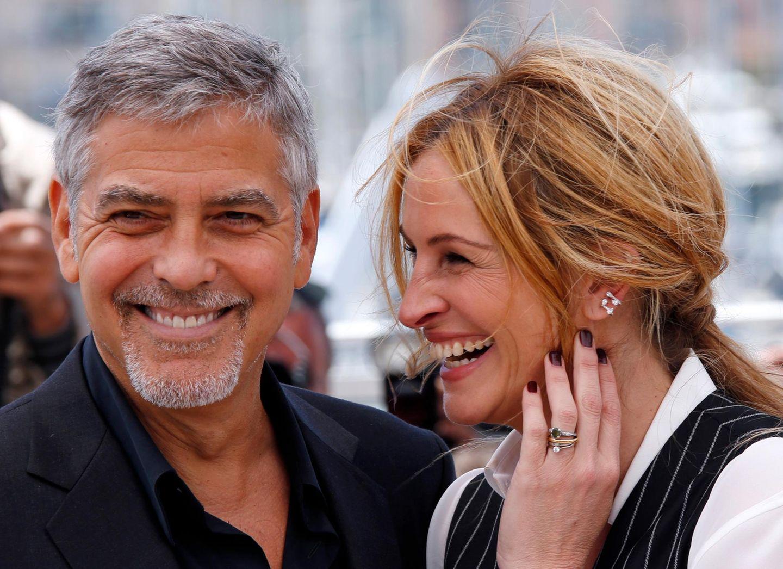 """George Clooney und Julia Roberts stellen ihren Film """"Money Monster"""" vor."""