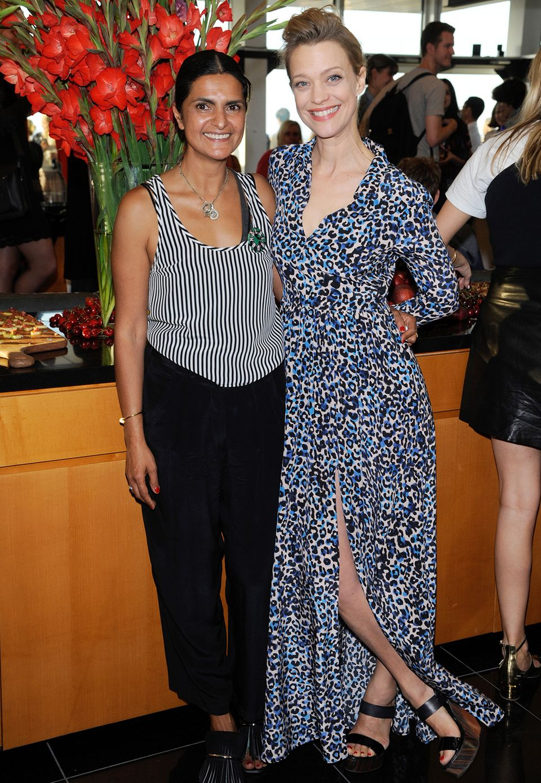 Designerin Leyla Piedayesh und Heike Makatsch feiern die Präsentation von Lala Berlin.