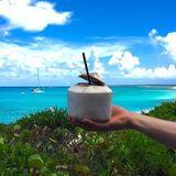 In karibischer Idylle genießt Marc ter Stegen sein erfrischendes Kokosnusswasser.