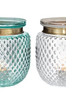 Funkelnder Fund: Windlicht-Set aus Glas mit Randeinfassungen aus kupferfarbenem Metall (Impressionen, Zweier-Set, ca. 50 Euro)
