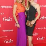 Im farbenfrohen Look feierte Moregina halmichdedesignerin Sonja Kiefer mit Ex-Boxweltermeisterin Regina Halmich im Hotel Ellington Berlin.