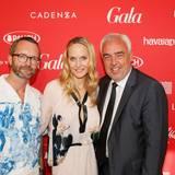 Marcus Luft (stellvertretender GALA-Chefredakteur) und Anne Meyer-Minnemann, GALA-Chefredakteurin, freuen sich über den Besuch von Hans-Reiner Schröder (BMW).