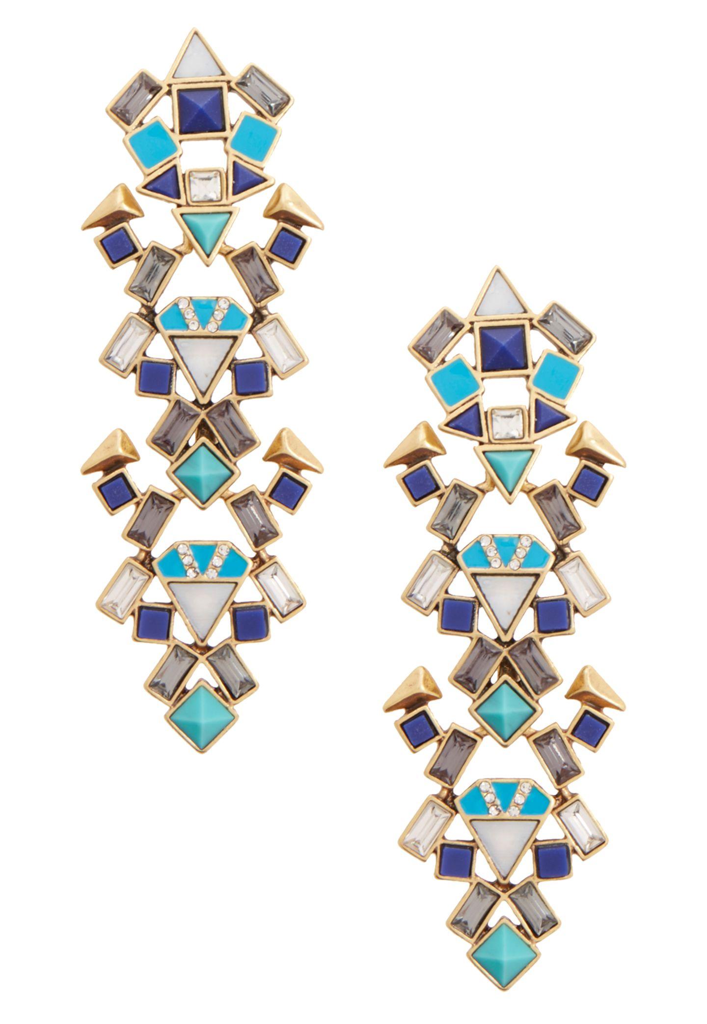 Formenvielfalt: stylishe Multicolor-Ohrhänger von Stella & Dot, ca. 60 Euro