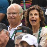 15. August 2016  König Carl Gustaf und Königin Silvia von Schweden sind endlich in Rio angekommen und fiebern beim Ringen und dem Handballspiel zwischen Schweden gegen Brasilien mit.