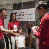 6. August 2016  Prinz Joachim, seine Frau Marie und die Kinder Henrik und Athena (nicht im Bild) begrüssten den Silbermedaillen-Gewinner im Strassenrennen Jakob Fuglsang im Hotel des Dänischen Sportverbandes in Rio.