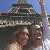 Juli 2016   Jana Ina und ihr Liebster Giovanni Zarrella erfüllen sich einen Traum mit dem Besuch des Eiffelturm in Paris.