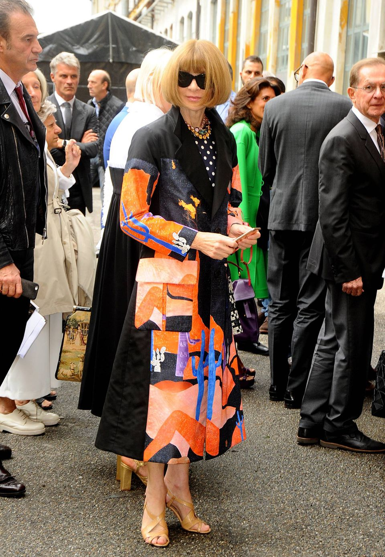 US-Vogue-Chefredakteurin Anna Wintour darf auf der Mailänder Modewoche natürlich nicht fehlen.