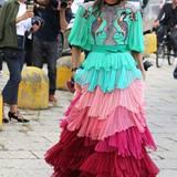 Anna Dello Russo ist gerade für die Fashion-Show von Gucci mal wieder der Paradiesvogel unter den Mailänder Fashionistas.