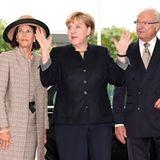 Königin Silvia von Schweden, Bundeskanzlerin Angela Merkel und König Carl Gustaf von Schweden