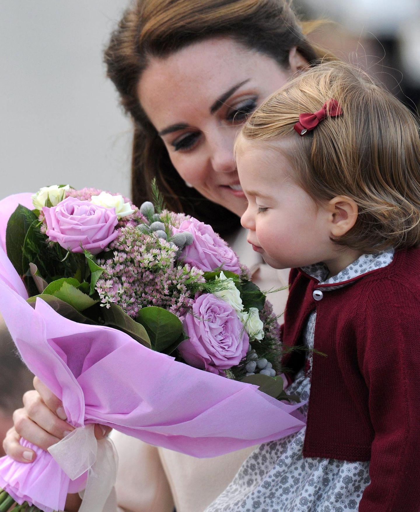 Tag 8  Herzallerliebst: Charlotte schnuppert an einem Strauß Blumen, den es zur Verabschiedung gab.