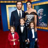 """3. Dezember 2016  Filmspaß für die ganze Familie: Matthew McConaughey und Camila Alves besuchen mit ihren stylischen Kids Livingston, Levi und Vida die """"Sing""""-Premiere in Los Angeles."""